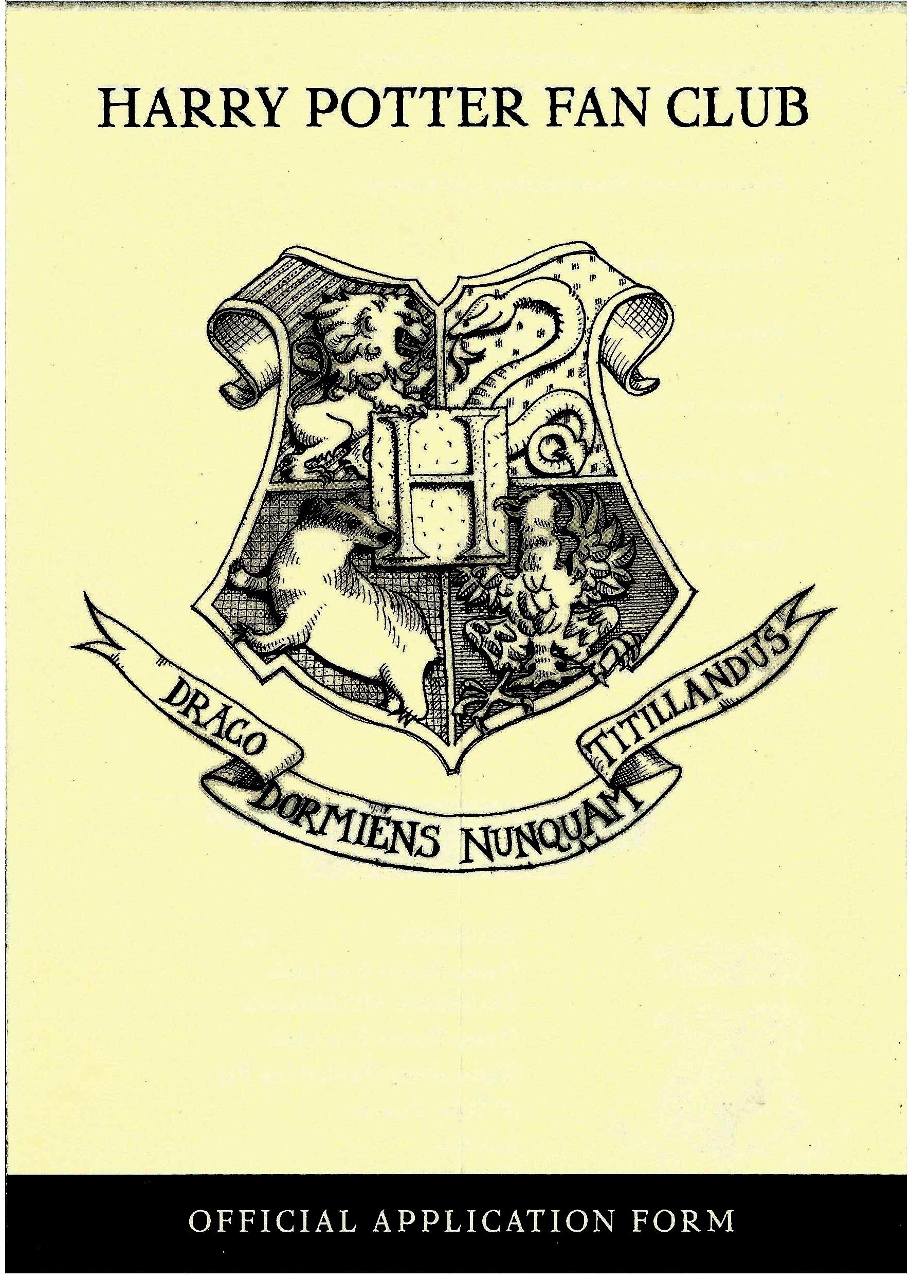 1998 Harry Potter Fan Club application form 1a