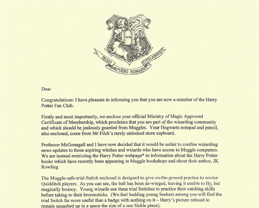Harry Potter Fan Club membership letter