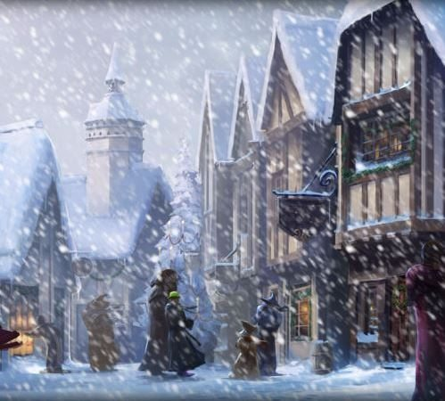Hogsmeade in the snow – detail