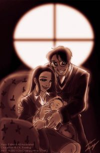 Lily and James Potter welcome baby Harry into the world