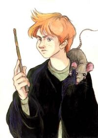 Percy Weasley gives his pet rat, Scabbers, to his younger brother Ron