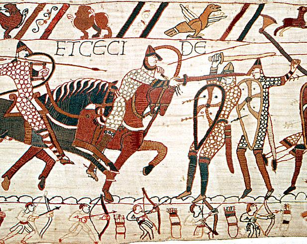 C1A3JF Bayeux Tapestry depicting The Battle of Hastings