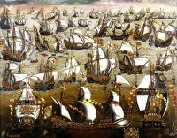 The Spanish Armada, attempting to invade England, is destroyed at sea