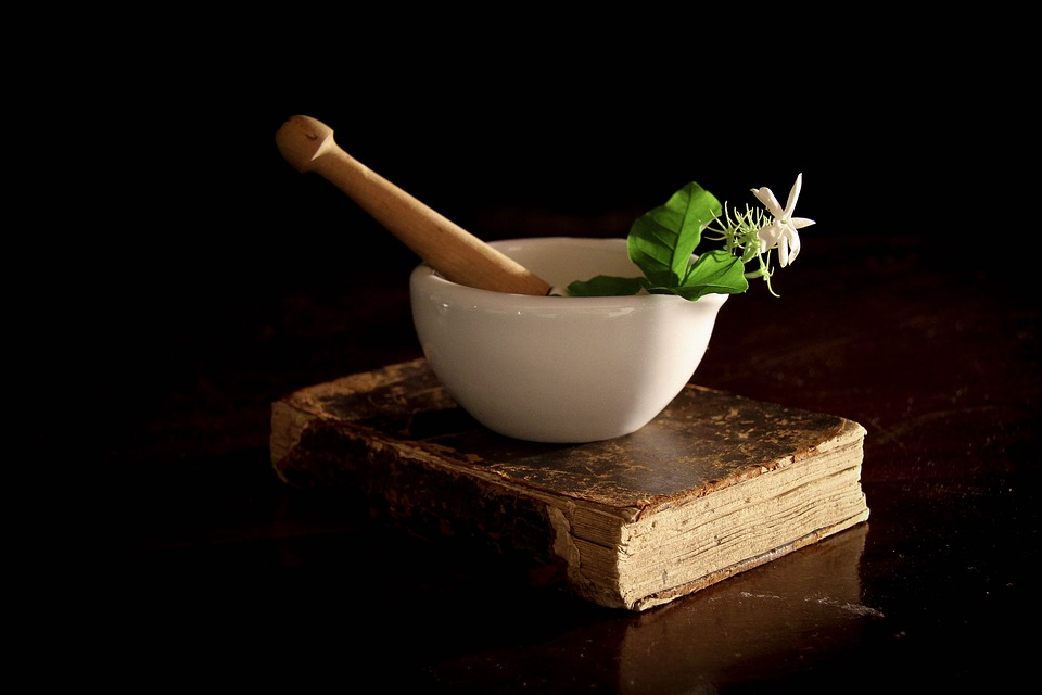 Mortar and Pestle on Book