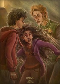 Harry, Ron, and Hermione realize the negative effects of wearing the Horcrux