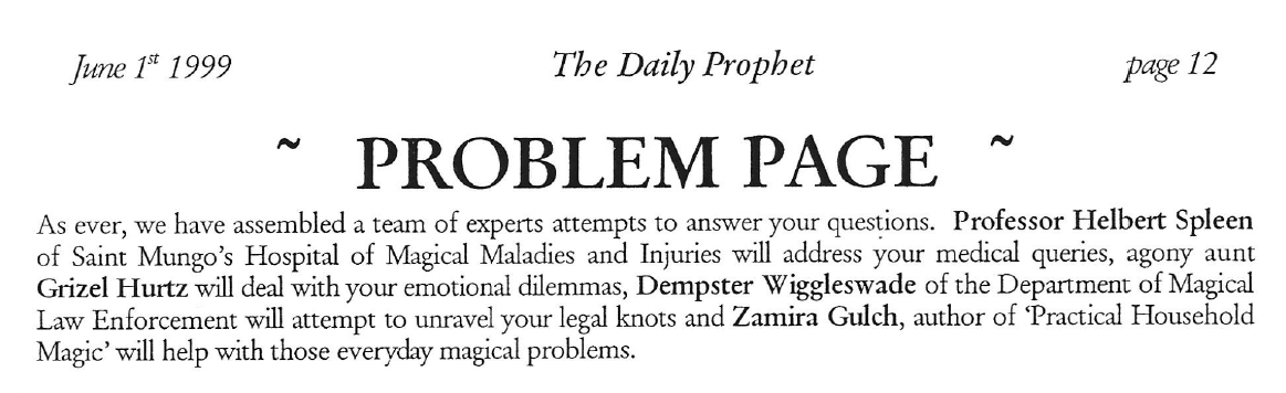 page 12 of the Daily Prophet, featuring the Problem Page