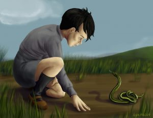 Tom Riddle with snake.
