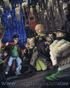 Picture of dueling club snake scene from Chamber of Secrets.