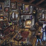 The painting shows Dumbledore's office, with Dumbledore and Harry.