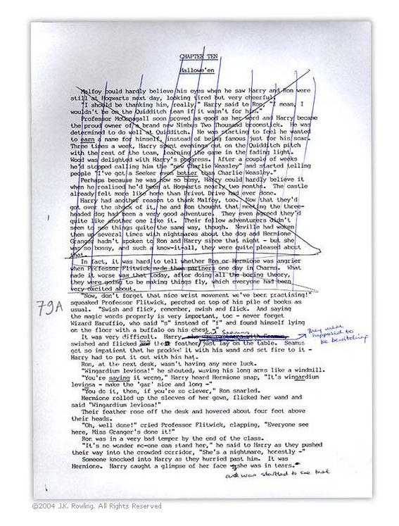 Rowling's manuscript of PS10