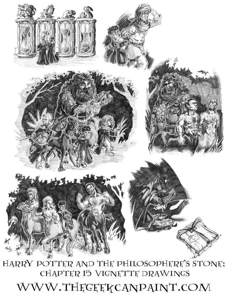 Harry Potter: Book 1 Chapter 15 Vignette Drawings