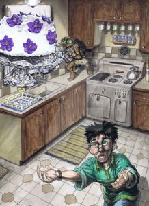 Harry and Dobby in the Dursley's kitchen.