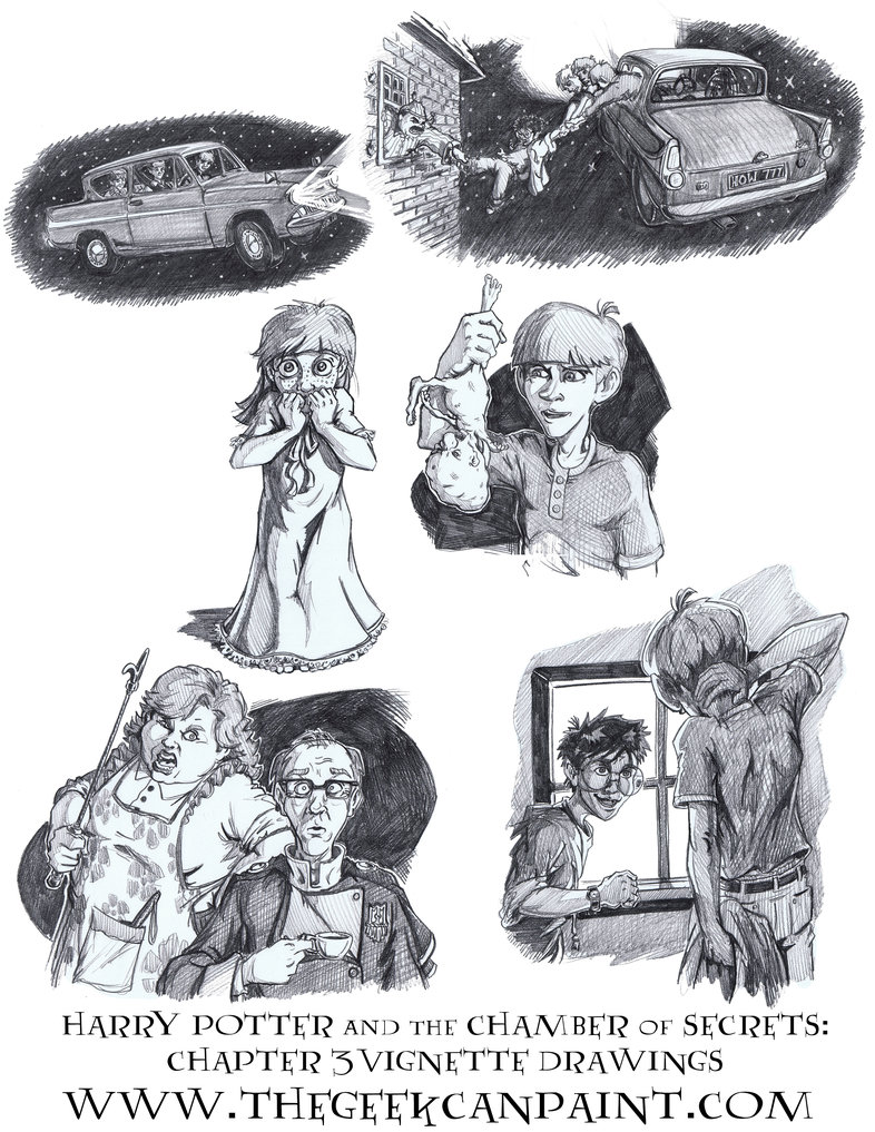 Harry Potter: Book 2 Chapter 3 Vignette Drawings