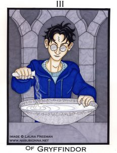 Harry pouring a memory into the pensieve.