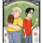 Dudley eats ice cream cone while Harry eats small popsicle.