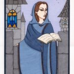 Rowena Ravenclaw with book.