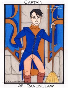 Ravenclaw quidditch captain Roger Davies with broom.