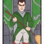 Slytherin quidditch captain Marcus Flint, with broom.
