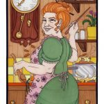 Molly Weasley in the kitchen.