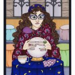 Professor Trelawney with crystal ball.