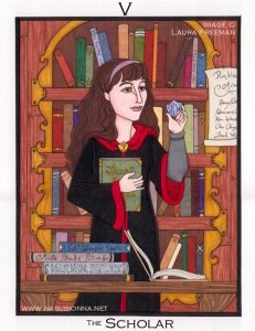 Hermione Granger surrounded by books.