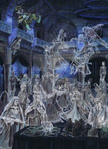 This painting depicts the Deathday Party from Chamber of Secrets.