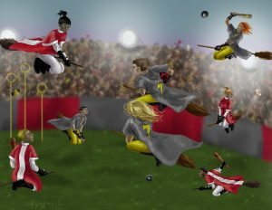 This picture shows a quidditch match.