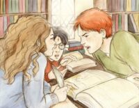 Sixth-years practice changing the color of their eyebrows, Ron and Hermione mock each other
