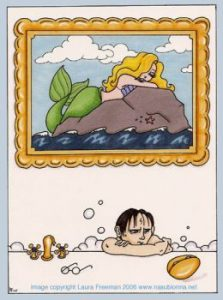 Harry in prefects' bathtub with mermaid picture.