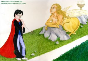 Harry and Sphinx in Triwizard Tournament.