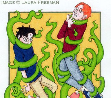 Harry and Ron entangled in Devil's Snare plant.