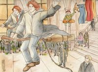 Fred and George fly away from Hogwarts into the sunset