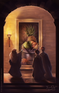 Harry, Ron, and Hermione visit the Hogwarts kitchens and catch up with Dobby and Winky