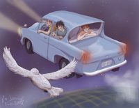 Fred, George, and Ron rescue Harry from the Dursleys in the Ford Anglia