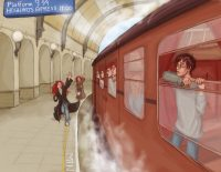 The three Potter children, Rose, Scorpius and their fellow students board the train for another year at Hogwarts School