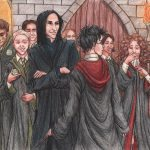 Harry et al with Snape and Slytherins.