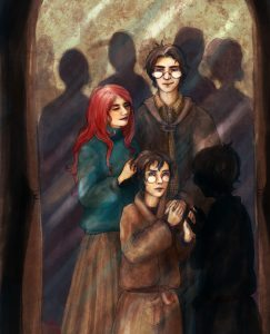 Harry with his parents in the Mirror of Erised.
