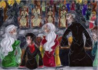 Bellatrix, Rodolphus, and Rabastan Lestrange, along with Bartemius Crouch Jr., are arrested