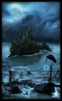 Evil wizard Ekrizdis builds a fortress on a remote North Sea island