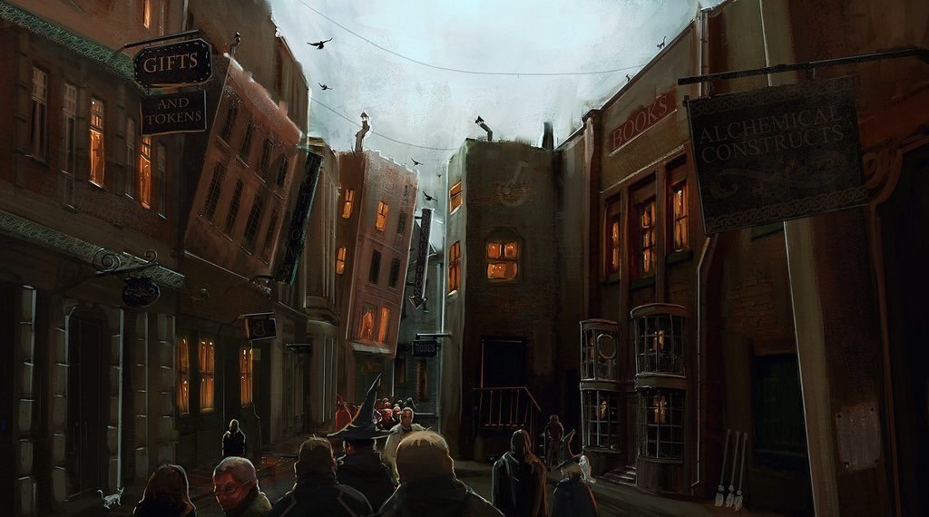 Witches and wizards roaming through Diagon Alley.