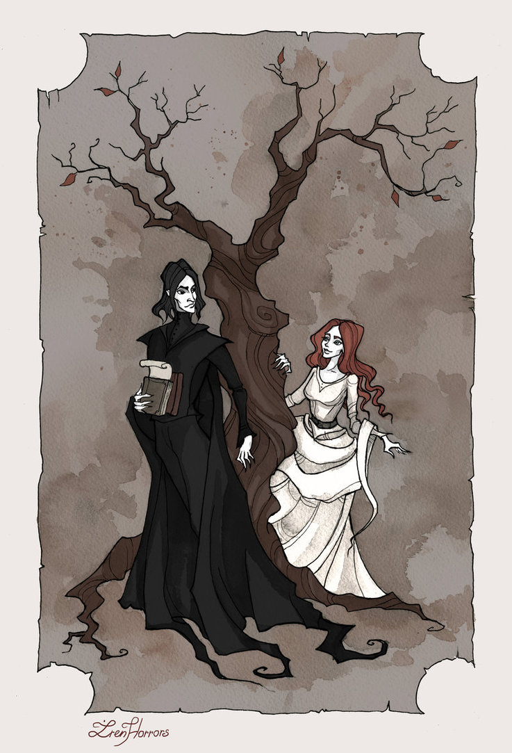 Gothic watercolor and ink of young Severus Snape in black robes and a cape holding school books and parchment standing in front of an autumn tree, turning to look at his friend Lily Evans with red hair dressed all in white on the other side of the tree.