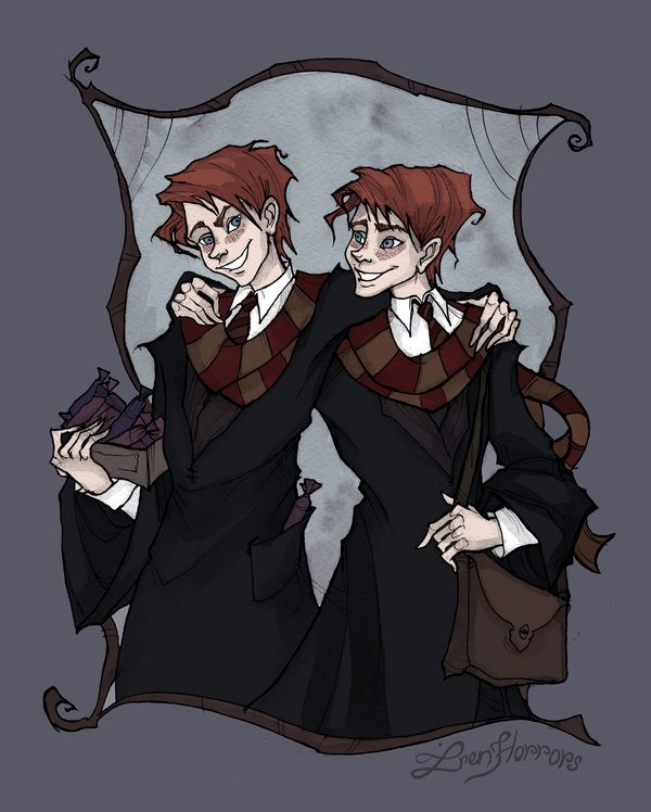 Ink and watercolor in the Gothic Style of the Weasley Twins, Fred and George, dressed in black Hogwarts robes and Gryffindor scarves in red and gold. One brother holds a box of wrapped candy while the other has a brown bag over his shoulder.