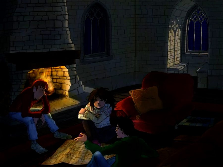 Gryffindor common room at night