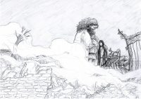 Sirius Black and Hagrid arrive in Godric's Hollow to find devastation