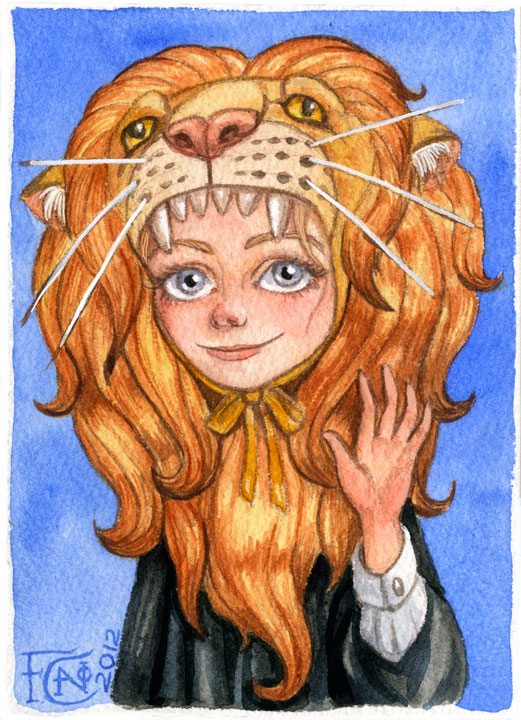 Luna with Gryffindor lion