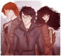 Harry, Ron, and Hermione are captured by Snatchers