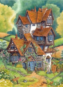 This picture depicts the Weasley's home, the Burrow.