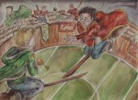 In a Quidditch match with Slytherin, Harry's arm is broken by a rogue Bludger