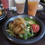 Bangers and Mash, Pumpkin Juice and Frozen Butterbeer from the Three Broomsticks at Wizarding World of Harry Potter Hollywood