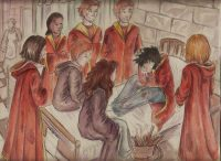 Harry spends the rest of the weekend in the Hospital Wing after his Nimbus 2000 is destroyed